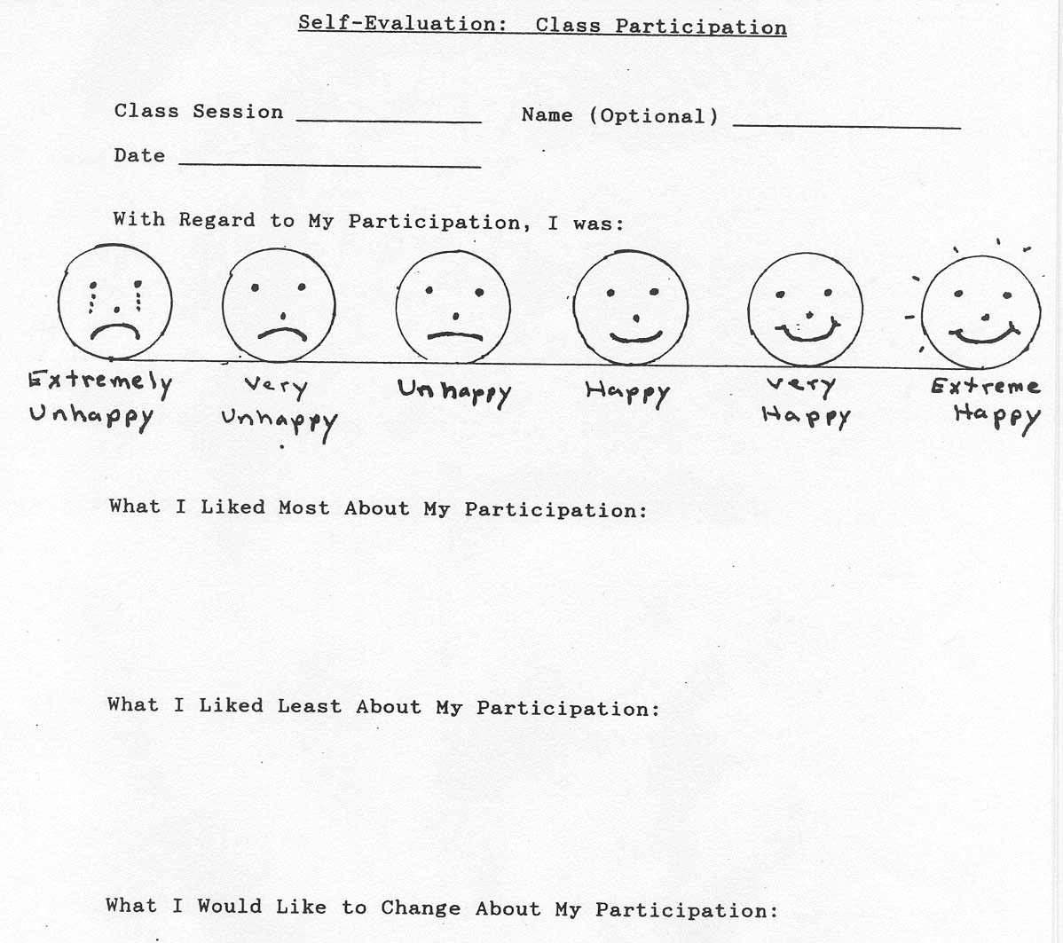 Self Monitoring for single students and groups of students – Student Self Evaluation Form
